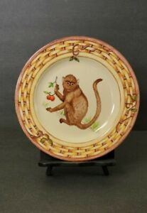 """American Atelier Monkey Cherry Salad Plate 8.25"""" Basket Weave Trim Replacement"""