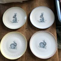 Spode Meadow Lane salad plates set of 4 NEW bunny gold trim