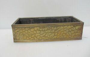 "Vintage Brass & Wood Trough Tub Planter Plant Pot Holder Antique Old Tray 12""W"