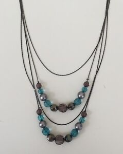 New Avon Shades of Grey Turquoise & Black Beaded Necklace & Earring Gift Set