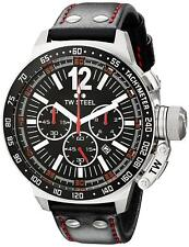 TW Steel CE1016 Men's Canteen Chronograph 50mm Black Dial Leather Watch