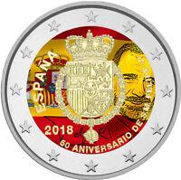 2 Euro Gedenkmünze Spanien 2018 coloriert / mit Farbe - Farbmünze Felipe