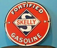 VINTAGE SKELLY GASOLINE PORCELAIN GAS OIL SERVICE STATION PUMP PLATE AD SIGN