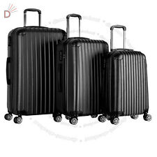 Set Of 3 Pieces Travel Luggage 4 Wheels Trolley Suitcase Bag Hard Shell UKDC