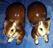 � 2 Vtg Small Mini Ceramic Squirrel Or Chipmunk Figures Nature Home Decor Old