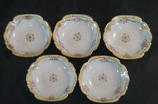 Set of 5 Hand Painted Nippon NIP133 Pink & Gold Rose Butter Pats C. 1911 - 1921
