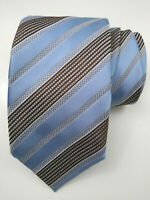 Ermenegildo Zegna TIE Striped Light Blue w/Brown Accents 100% Silk Italy