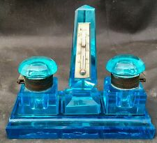 ANTIQUE  BRILLIANT BLUE BLOWN & CUT GLASS INKWELLs  / Thermometer