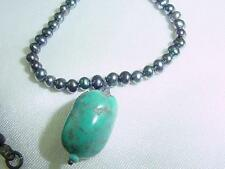 LUMINOUS SILVER BLACK  SOUTH SEA BAROQUE PEARLS  NECKLACE TURQUOISE PENDANT #274