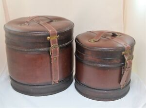VINTAGE 2 FAUX LEATHER  AND WOOD ROUND CHESTS BOXES LUGGAGES