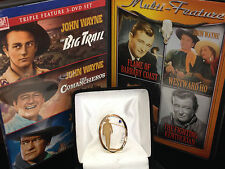 JOHN WAYNE 14k Gold Pin/Brooch 1993 TCW .33 Diamond/Sapphire w/ 2 DVD Movies