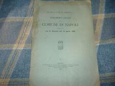 1921 REGOLAMENTO EDILIZIO COMUNE DI NAPOLI R.DECRETO 1892 TIP. GIANNINI
