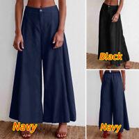 Size Women High Waist Flared Jeans Casual Loose Wide Leg Denim Trousers Pants UK