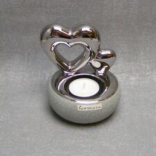 silber lackiert 705686 Formano Teelichtleuchter Herz 11 cm Keramik Steinoptik