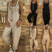 Womens Ladies Casual Jumpsuit Dungarees Playsuit Baggy Trousers Overalls Rompers