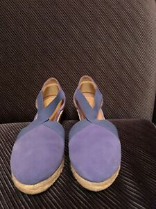 Talbots Shoes Wedge Jute Heels Womens Size 8.5 Blue Suede