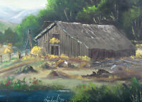 1975 WILLIAM 'BILL' STEINBACH Oil Painting (California 20th Cent) BARN HAY TIME