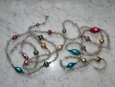 Alter Tinsel - 2 Tinselketten mit  Lauscha Glaskugeln - ca. 290 cm  (# 5445)