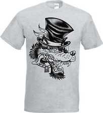 T Shirt im Ashton mit einem Gothik-,Biker-&Tattoomotiv Modell Wolf Zylinder