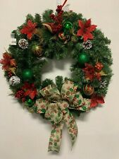 "Holiday Red Green Holly Pine Cone Bow Christmas Ornament Wreath 23"" Artificial"