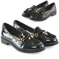 Womens Slip On Loafers Ladies Tassel Black Casual School Work Pumps Shoes Size