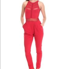 21205ab99301 COOGI Womens Mesh Insert Jumpsuit Sangria Red Lace long jump suit EXTRA  LARGE