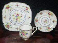 ROYAL ALBERT PETIT POINT LUNCHEON TRIO - CUP, SAUCER, PLATE ENGLAND 3 Pc Exc