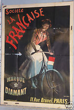 AFFICHE ANCIENNE GEO WEISS circa 1900 CYCLES LA FRANCAISE MARQUE DIAMANT