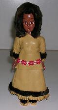 """Vintage 7.5"""" Hard Plastic Eskimo Doll with Leather Dress & Sleepy Eyes"""