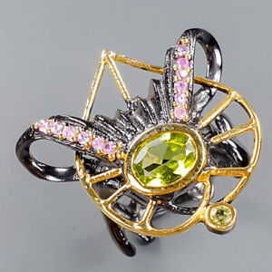 Fine Art Jewelry Set Peridot Ring Silver 925 Sterling  Size 6.5 /R151981