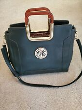 New Large Satchel Black Faux Leather Shoulder Tote w/ Molded Acrylic Handles