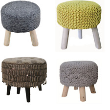 Round Natural Hand Knit Pouf Floor Ottoman Cotton Braid Cord Wooden Foot Stool