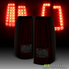 "99-02 Silverado 99-06 Sierra Red Smoked ""C Shape"" LED Tail Lights Brake Lamps"