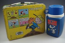 1980 PEANUTS CHARLIE BROWN SNOOPY LUCY LUNCH BOX WITH THERMOS RARE VINTAGE