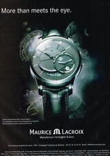 F- Publicité Advertising 2008 Montre Pontos Décentrique GMT Maurice Lacroix