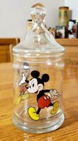 """Walt Disney Productions Mickey Mouse Clear Glass Candy Jar With Lid 8 1/2"""" Tall"""