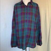 Women's Flannel Half Button-up Shirt, Chaps by Ralph Lauren, Size Medium