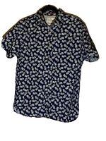 Denim & Flower Mens M Short Sleeve Navy Blue Casual Button Up Shirt w/Pineapples