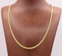 3.5mm Miami Cuban Chain Necklace Solid 14K Yellow Gold Clad Silver Italy 925
