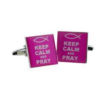 Keep Calm & Pray Pink Cufflinks X2Bocs149