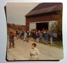 Vintage 70s Photo Farmhands & Workers Waiting Outside Barn For Boss Give Speech