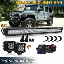 "52 inch LED Light Bar Flood Spot Combo +4"" Pods Off Road Fits ATV 4WD Truck 50"