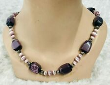 Purple Gemstone Necklace Cats Eye Beaded Silver Plated
