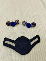 Set of  USAF Airman and Airman First Class Pins (E-2 And E-3) & E-2 Sew on Patch