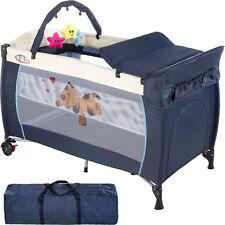 Lit bébé pliant avec accessoires lit de voyage bleu réglable