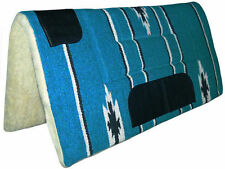 Turquoise Blue Western Stock Saddle Thick Fleece Pad Blanket Navajo Leather