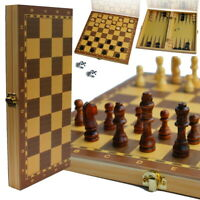 Schach Backgammon Dame Kassette 3 in1 Spiel Schachspiel Backgammonspiel Holz
