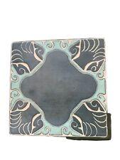 "Grueby Pottery Faience 6""x6""  tile Arts & Crafts matte green Aqua Trivet"