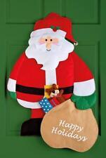 "34""L Santa Door Hanging Jingle Bell Hat Christmas Happy Holidays Home Decor"