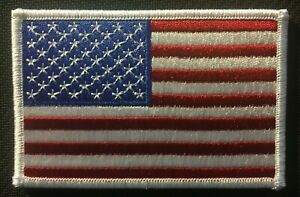 """AMERICAN FLAG EMBROIDERED PATCH WHITE BORDER US flag UNITED STATES iron  on 3.5"""""""